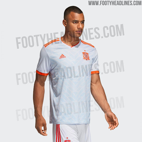 7caf5caf75c ... the new Spain 2018 World Cup away kit is 'Halo Blue', which is a very  light, almost white shade of grey. Adidas combines this base color with  striking ...