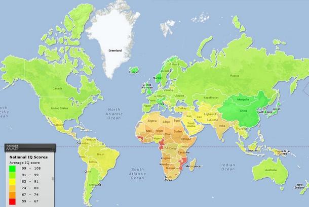 World Map of National IQ Scores