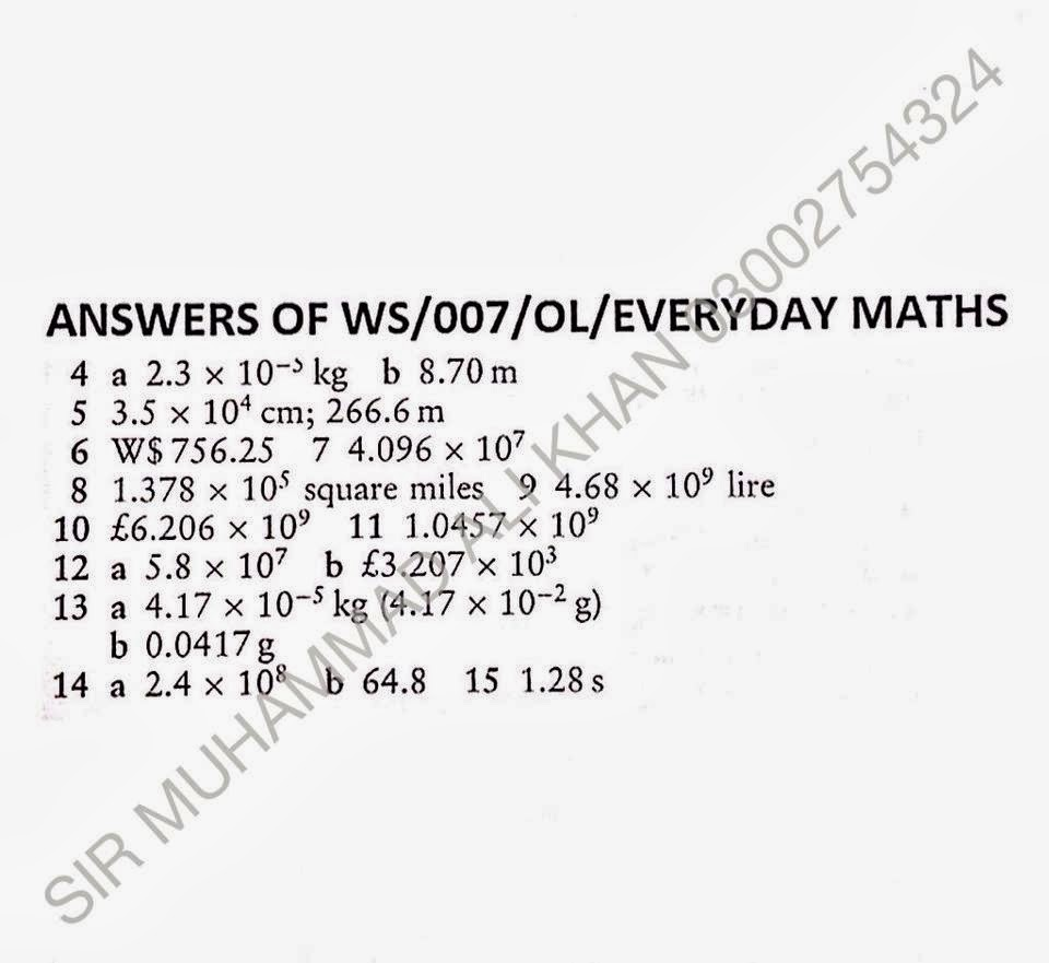 Muhammad Ali Khan[OFFICIAL]: WORKSHEETS OF EVERYDAY MATHS