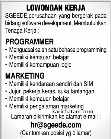 Lowongan Kerja PT. Sgeede Indonesia