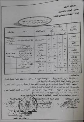 جدول إمتحانات الصف الثالث الاعدادى الترم الاول 2018 محافظة الفيوم