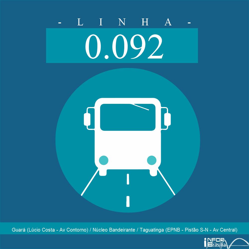 Horário de ônibus e itinerário 0.092 - Guará (Lúcio Costa - Av Contorno) / Núcleo Bandeirante / Taguatinga (EPNB - Pistão S-N - Av Central)
