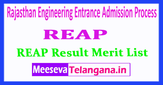 REAP Rajasthan Engineering Entrance Admission Process REAP Result 2018