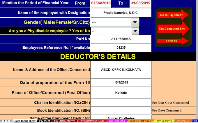 Download Automated TDS on Salary All in One for Govt & Non-Govt Employees for F.Y.2018-19 including Save Tax u/s 80C For F.Y. 2018-19 Investments for Section 80C