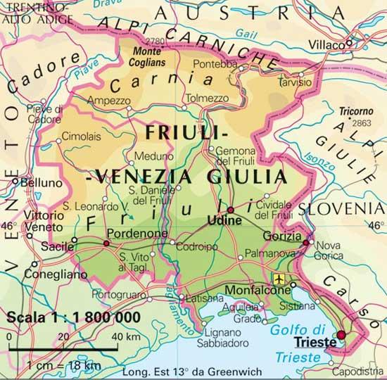 Cartina Italia Friuli Venezia Giulia.Cartina Muta Friuli Venezia Giulia Oggi