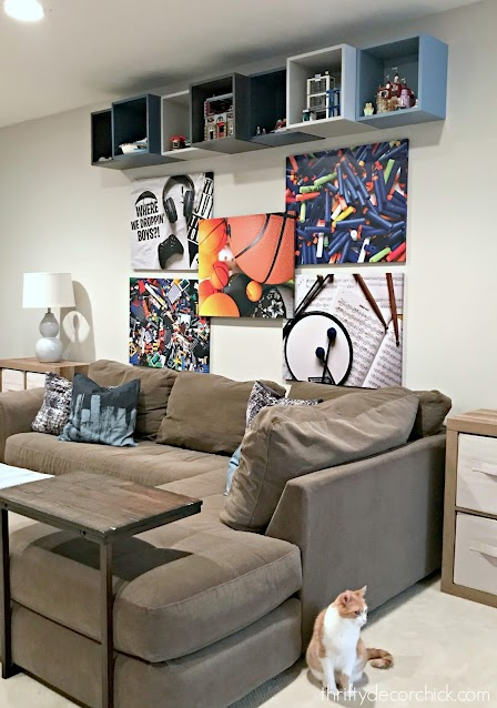 boy game room with large art