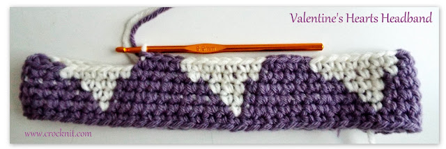 free crochet patterns, how to crochet, headbands, headwear, hearts, tapestry crochet,