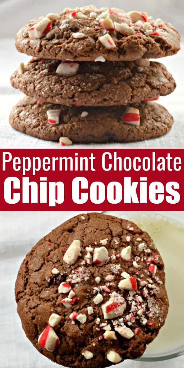 Peppermint Chocolate Chip Mocha Cookies recipe is a favorite Christmas Cookie with Chocolate Peppermint Cookies filled with chocolate chips and peppermint pieces from Serena Bakes Simply From Scratch.