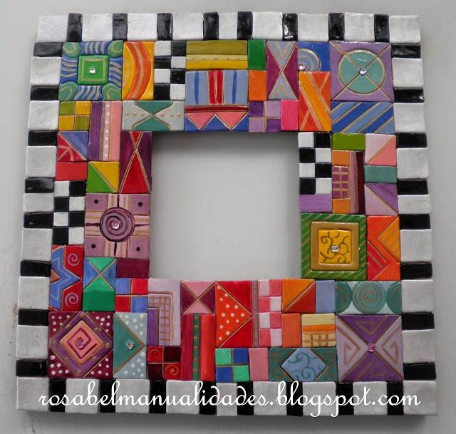 Rosabel manualidades marcos decorados con arcilla polim rica for Molduras para espejos online