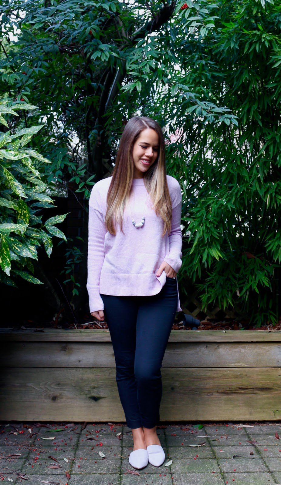 Jules in Flats - Lavender Crew Neck Sweater with Grey Suede Mules (Business Casual Winter Workwear on a Budget)