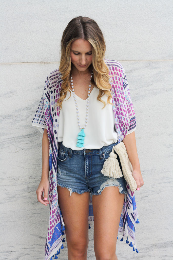 Summer Essentials - pair a white tank and denim with a kimono