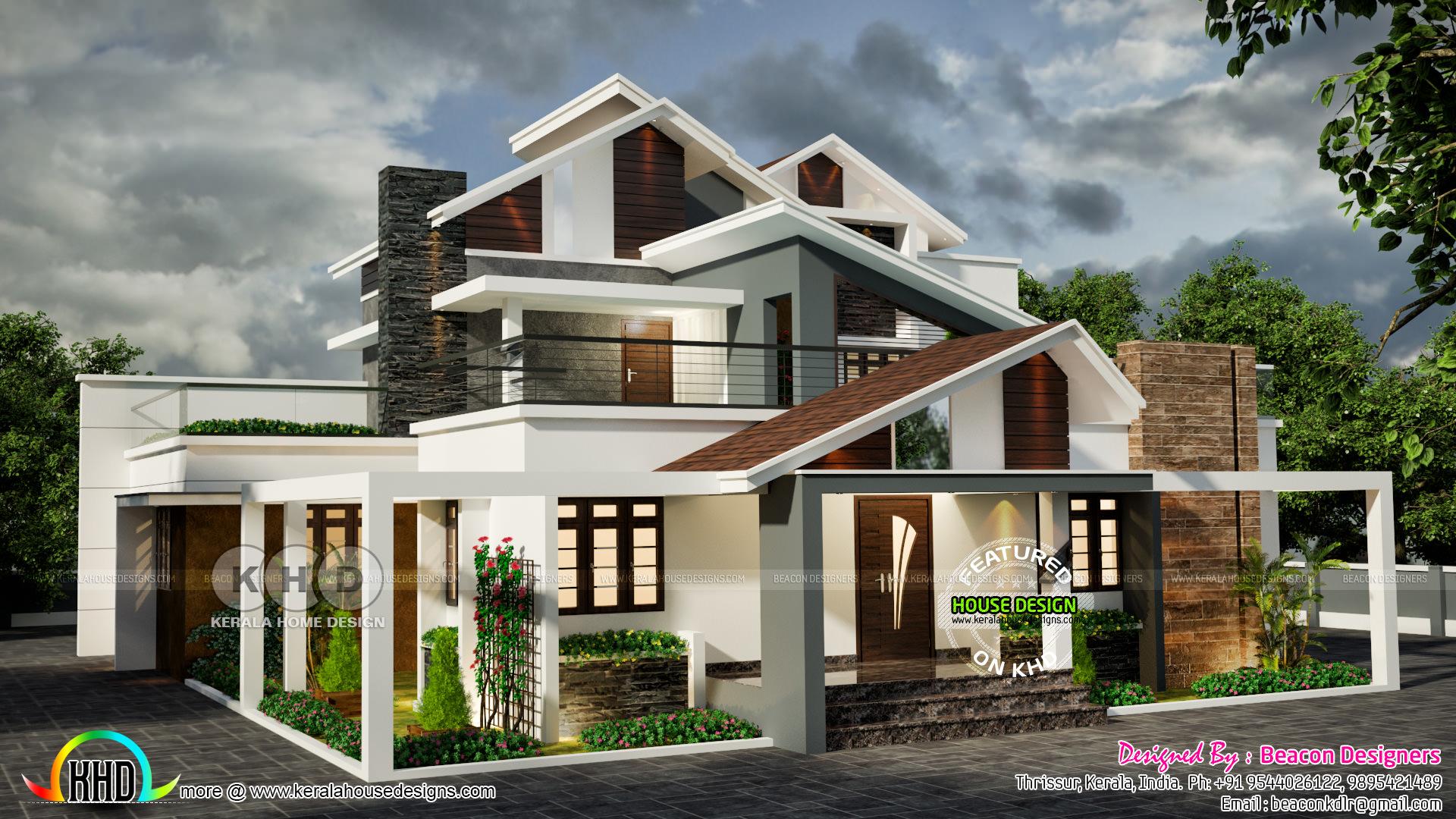 4 bedroom ultra modern house 2500 sq-ft - Kerala home ...