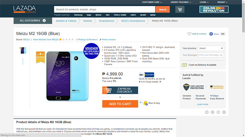 BREAKING! Meizu M2 Down To 4999 Pesos! Comes With Solid Specs For The Price!