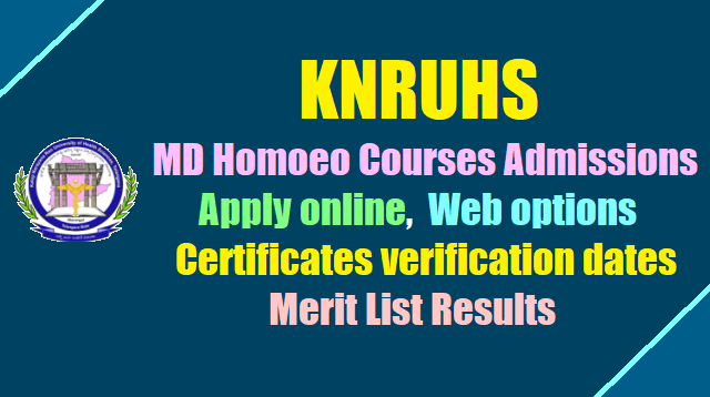 KNRUHS MD Unani Courses admissions 2017, Apply online, Web options, Certificates verification dates