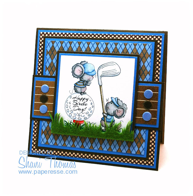 Happy Birdie Day masculine golf themed birthday card, featuring Di's Digistamps Fore You stamp, by Paperesse.