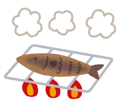 料理の「焼く」のイラスト