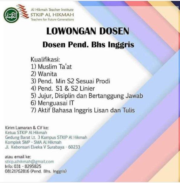 Lowongan Dosen Bahasa Inggris STKIP Al Hikmah Surabaya