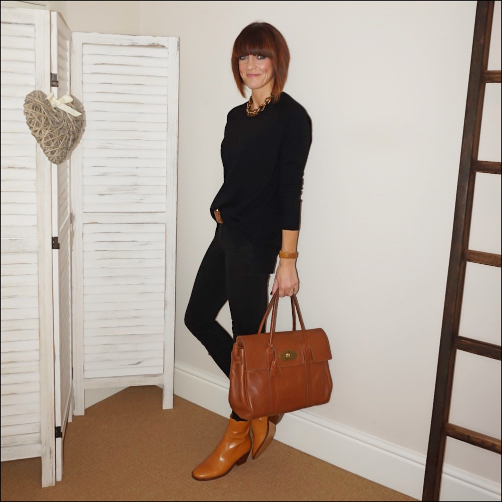 my midlife fashion, j crew tortoise link necklace, hush cashmere boyfriend jumper, massimo dutti tan leather belt, j crew i stretchy toothpickjeans in true black, mulberry bayswater, isabel marant etoile tan leather block heel ankle boots