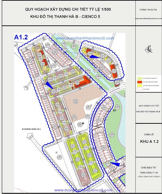 Sơ đồ khu A1.2 dự án Thanh Hà Cienco 5 Hà Đông