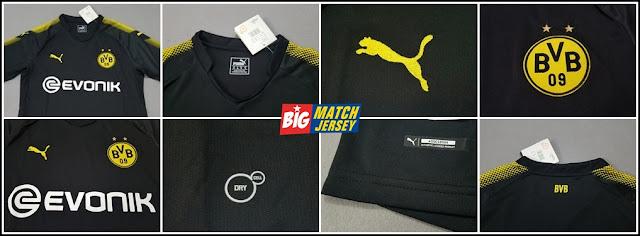 Detail Kaos Jersey Bola Dortmund Tandang Musim 2017-2018 Hitam Grade Ori