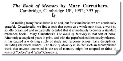 Review paragraph of Carruthers The Book of Memory