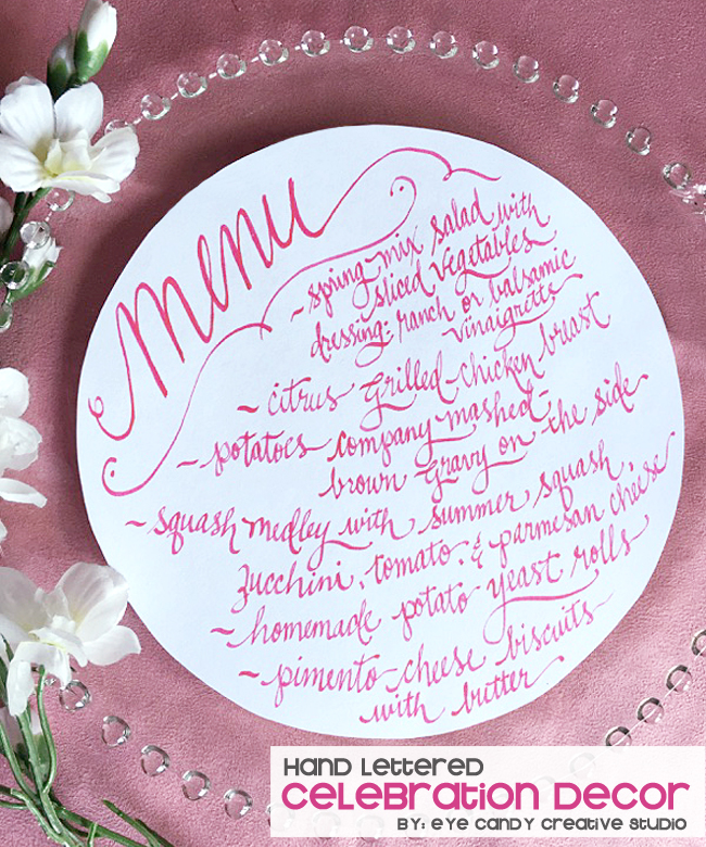 hand lettered cards, menu, hand lettered party signs, quince signs