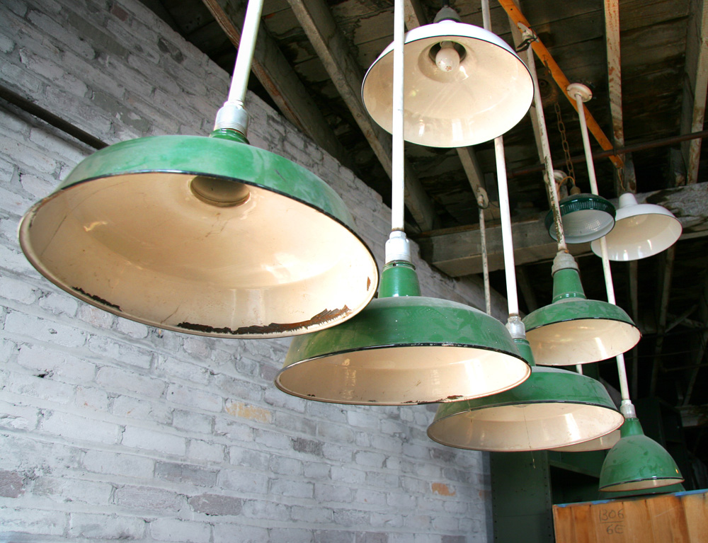 Vintage Lighting While At The Antiques Warehouse I Came Across These Awesome Green Beauties We Have Exposed Brick In Our Bat And Someday
