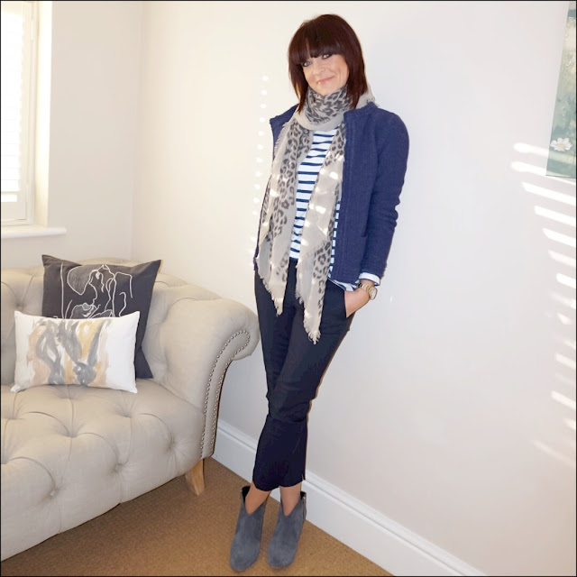 My Midlife Fashion, H&M breton top, massimo dutti leopard print scarf, laura ashley edge to edge stitch jacket, zara cigarette pants, golden goose superstar trainers