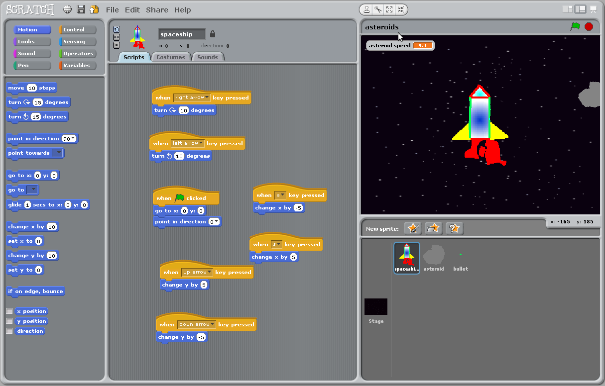 The Ideas of a Curious Mind: The Game Of Asteroids - A Scratch Project
