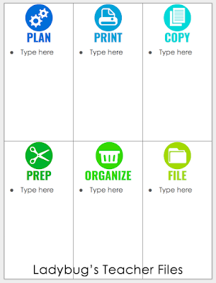 Google Drive to-do list with colorful icons that can be typed right into.