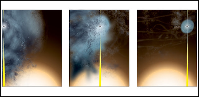 "Artist's conception of how the ""nearly naked"" supermassive black hole originated. Credit: Bill Saxton, NRAO/AUI/NSF."