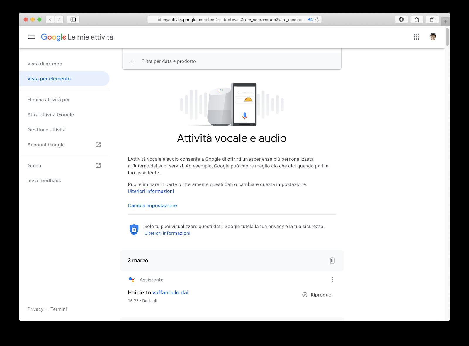 Come riascoltare le richieste fatte a Google Home