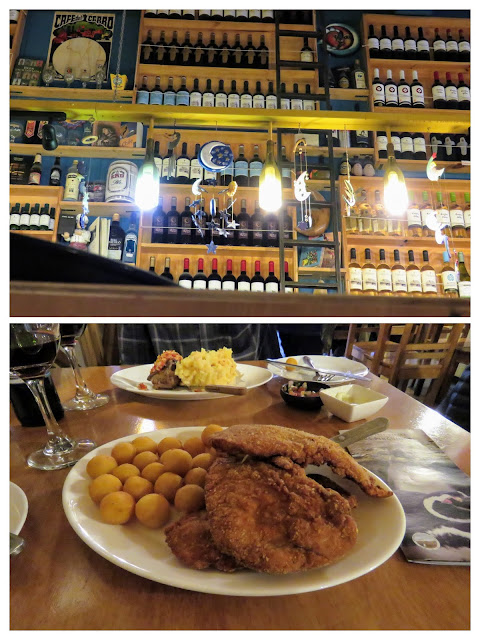 Places to eat in Punta Arenas: collage of the meal and decor at La Luna