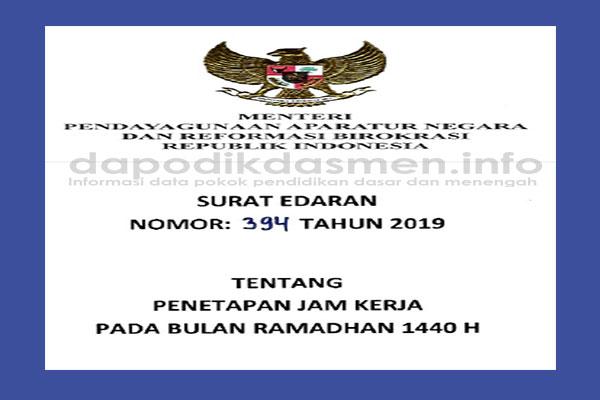 Penetapan Jam Kerja ASN - PNS Selama Bulan Ramadhan 2019 1440 H (Surat Edaran Menteri PANRB)