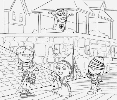Free printable minions house Miss Hattie's Home for Girls Margo Edith and Agnes minion coloring page