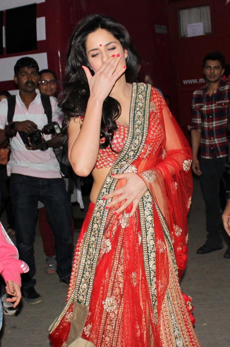 Bollywood Actress Katrina Kaif Hot Dirty Face Photos In Red Dress