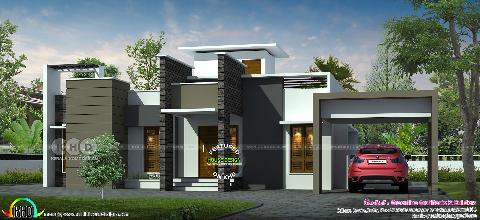 1888 Sq Ft 3 Bedroom Flat Roof Modern House Kerala Home Design Bloglovin