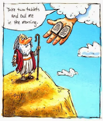 Funny Moses Cartoon Picture - Take two and call me in the morning