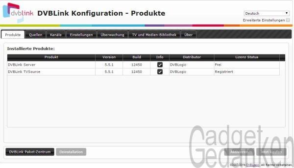 DVBLink Server - Konfigurationsmenü am Webinterface