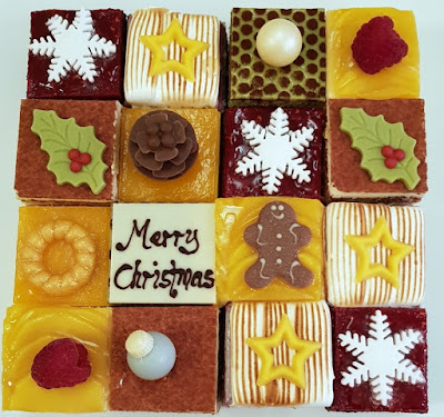 A merry mosaic cake, comprising 16 squares of cake in six flavours