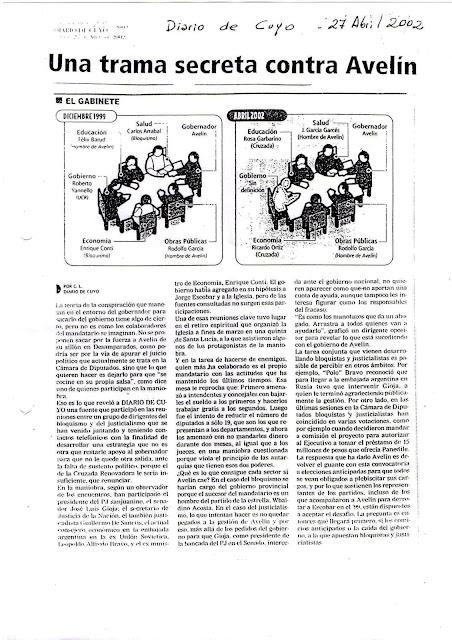 """En Abril del año 2002 se gesta el derrocamiento planteado de manera desargumentada, por medio de un juicio político, a las espaldas participaba Gioja y el bloquismo, algunos radicales se hicieron del poder. A todos excepto Gioja y el Pj, les fue mal """"quedaron al borde del exterminio tras la operación"""". La falta de criterios consensuados y una unidad en medio de una alianza política que los unió contra el neoliberalismo noventeano, fue más discurso que otra cosa. Conti, por ejemplo, ex ministro de economía de la provincia, postulaba en sus ideas la ortodoxia neoliberal. Eso era un lastre para muchos colaboradores del gobierno de aquel entonces. Y las tendencias neoliberales ortodoxas estaban incertadas en la mayor cantidad de funcionarios sanjuaninos. Mientras que, otros pocos intentaban luchar contra los ajustes. La juntura de elementos negativos, la desconexión entre criterios de pensamiento y esas doctrinas que chocaban en el seno del gobierno, era algo recurrente. Entonces al planteo de llevar el juicio político a la legislatura, lo remató de forma traicionera al gobierno del Doctor Avelín. Pues el partido propio de Avelín -Cruzada Renovadora- perseguía otros objetivos y esa disociación protagonizó broncas que se canalizaron al llegar al recinto legislativo el juicio político. No todos los sectores bloquistas y radicales participaron del golpe, sí lo hicieron algunos sectores del Pj, otros de Desarrollo y Justicia, logrando oponerse el Partido Socialista y otros sectores minoritarios de la cámara."""