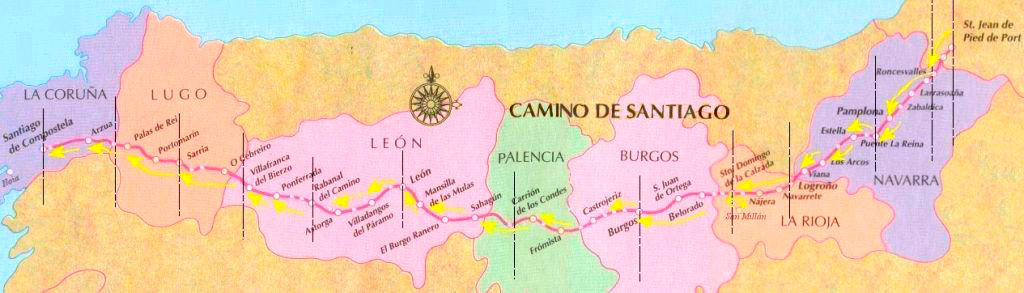 Camino Frances stretches from Saint-Jean-Pied-de-Port in France to Santiago de Compostela in the northwest corner of Spain.