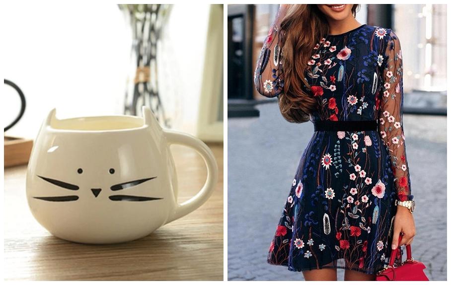 Caneca gato vestido padrão floral gamiss