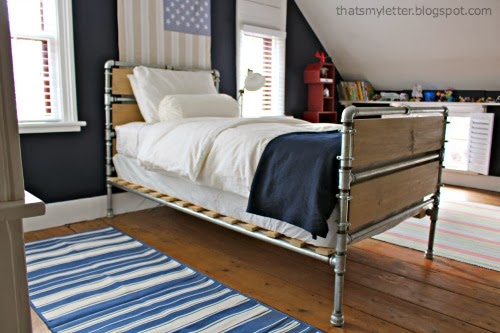 diy pipe and wood slat twin bed