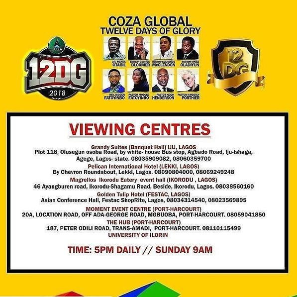 COZA 12 days of glory viewing centres