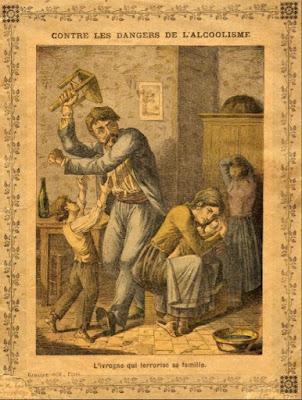 """""""L'ivrogne"""", protège-cahier thématique, avant 1900 (collection musée)"""