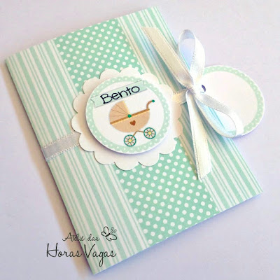 convite artesanal infantil chá de fraldas bebê verde malva claro menino