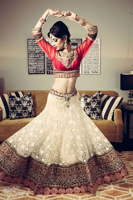 Indian Bride Vermillion And Cream Lace Lehenga.