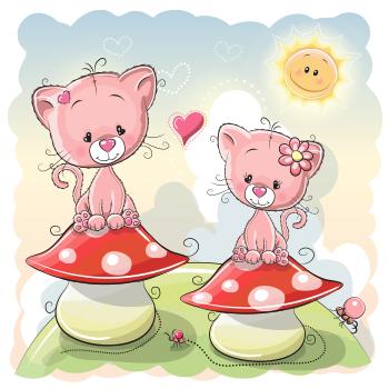 Cats on mushrooms