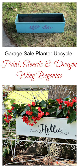 Garage Sale Metal Planter Upcycle #Krylonchalkpaint #stencil #dragonwingbegonia